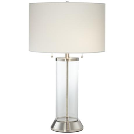 fritz glass column table lamp with usb port 6j858. Black Bedroom Furniture Sets. Home Design Ideas