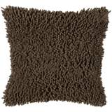 "Mocha Brown 18"" Square Shag Throw Pillow"