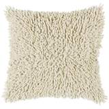"Cream 18"" Square Shag Throw Pillow"
