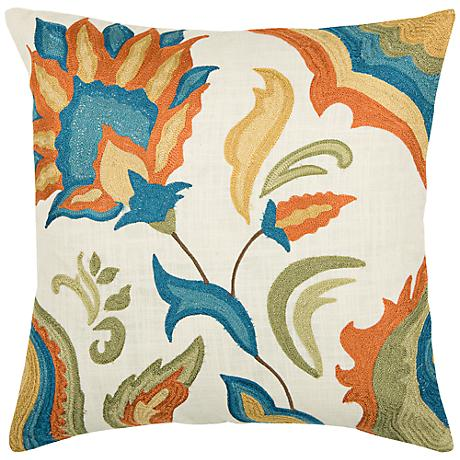 "Floral Embroidered 18"" Square Throw Pillow"