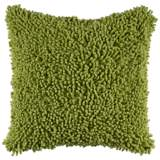 "Citrus Lime Green 18"" Square Shag Throw Pillow"