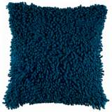 "Peacock Blue 18"" Square Shag Throw Pillow"