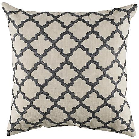 "Gray Embroidered Ivory Geometric 18"" Square Throw Pillow"
