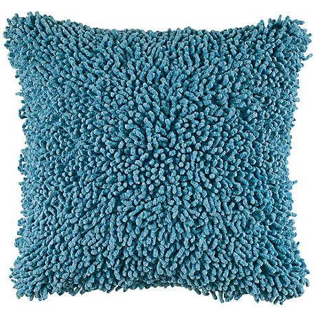 "Vibrant Aqua Blue 18"" Square Shag Throw Pillow"