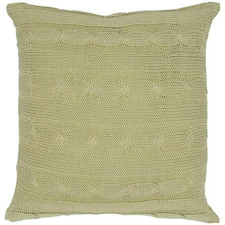 "Sage Green Sweater Knit 18"" Square Throw Pillow"