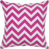 "Hot Pink and White Chevron 18"" Square Throw Pillow"
