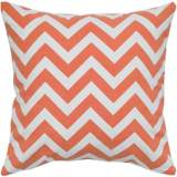 "Orange and White Chevron 18"" Square Throw Pillow"