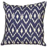 "Navy Blue Diamond Print 18"" Square Throw Pillow"