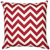 "Red and White Chevron 18"" Square Throw Pillow"