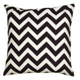 "Black and White Chevron 18"" Square Throw Pillow"