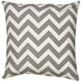 "Gray and White Chevron 18"" Square Throw Pillow"