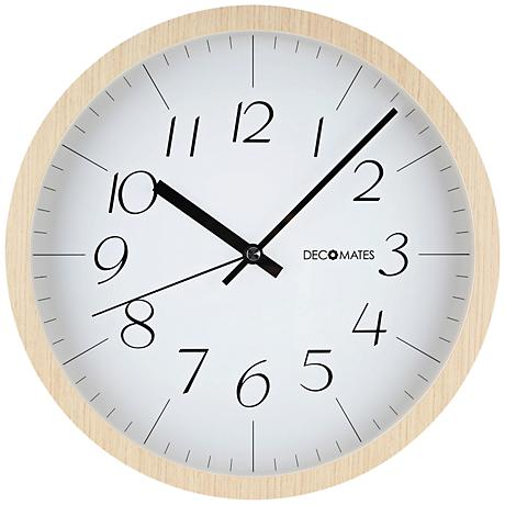 "Decomates Modern 12"" Round Light Brown Wood Clock"