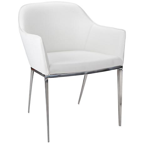 Stanis White Faux Leather Armchair