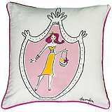 "Lady in Style Yellow Dress 18"" Square Decorative Pillow"