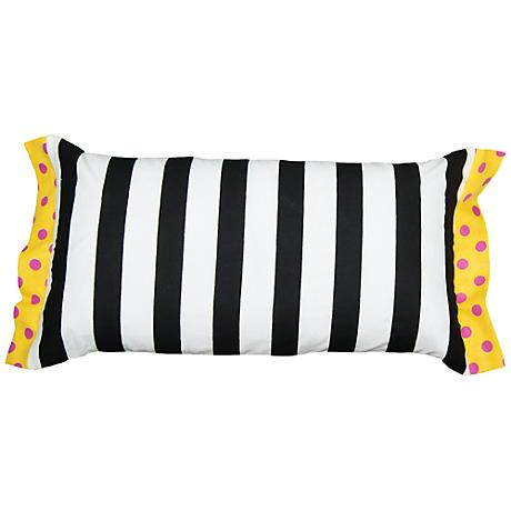 "Black and White Striped and Polka Dot 21"" x 11"" Pillow"