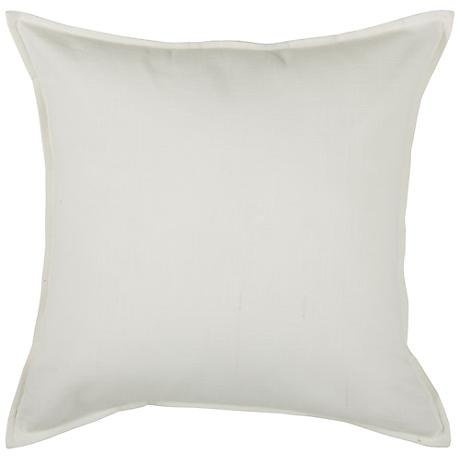 "Off-White Self-Flange 20"" Square Throw Pillow"