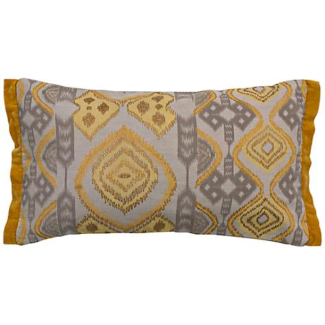 "Ikat Taupe and Mustard 21"" x 11"" Throw Pillow"