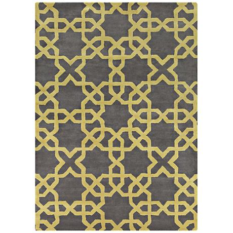 Chandra Davin DAV25802 Charcoal Wool Area Rug