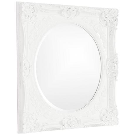 "Howard Elliott Monique Glossy White 30"" x 34"" Wall Mirror"