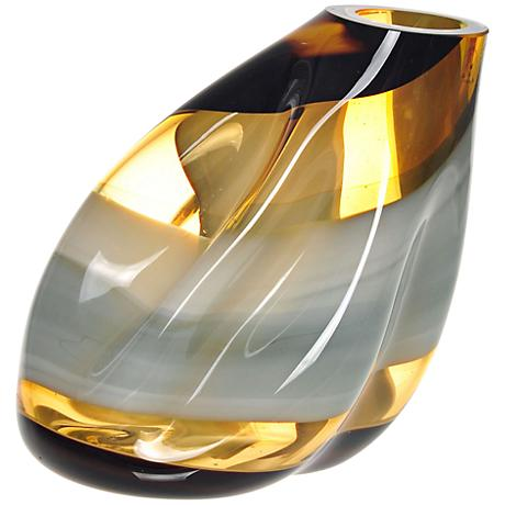 "Letona Brown, Amber and Gray Slanted 9 1/4"" High Glass Vase"