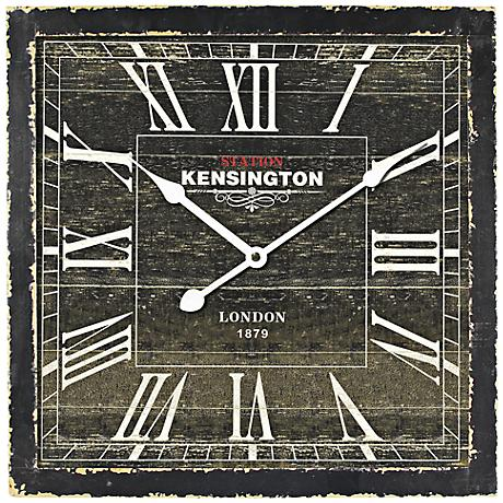 "Drayton Distressed Black 15 3/4"" Square Wall Clock"