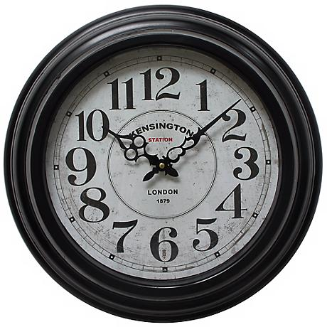 "Kirby Distressed Black 17"" Round Wall Clock"