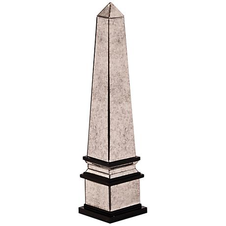 "Howard Elliott Small Antique Mirrored 22""H Obelisk Sculpture"