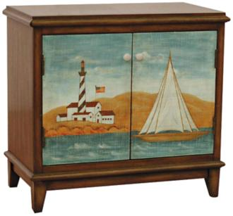 Ahoy Rustic Burgundy 2-Door Nautical Hall Chest (6N451)