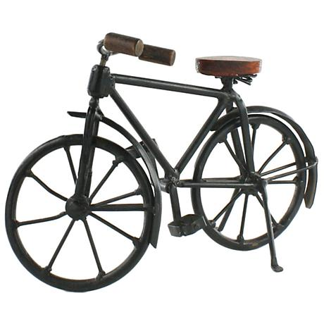 "Stallings Decorative Model Bicycle 9"" Wide Iron and Wood"