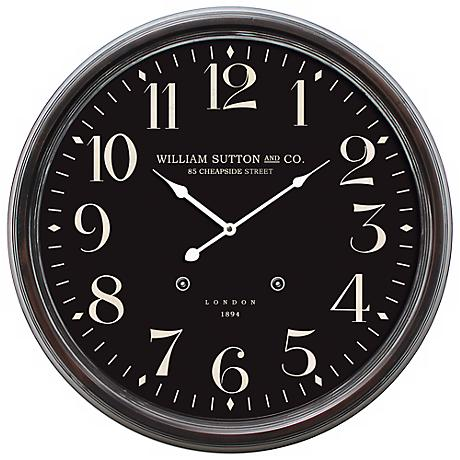 "William Sutton Dark Brown 24 1/2"" Round Wall Clock"