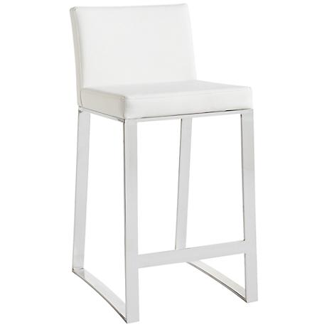 "Architect 30"" White Faux Leather Barstool"