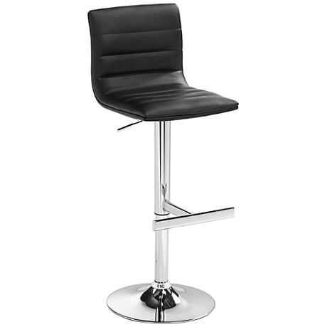 Motivo Black Faux Leather Adjustable Barstool 6p827
