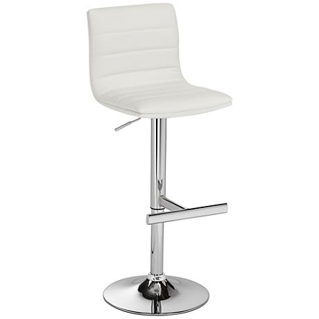 Motivo White Faux Leather Adjustable Barstool