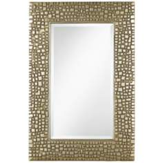 "Textured Relief 14"" x 36"" High Champagne Wall Mirror"