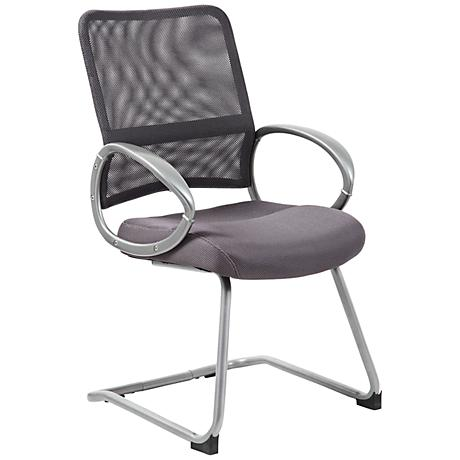 Boss Mesh Fabric Gray Reception Chair