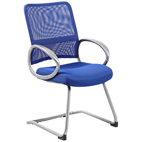 Boss Mesh Fabric Blue Reception Chair