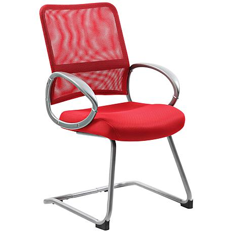 Boss Mesh Fabric Red Reception Chair
