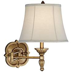 Aleneva Antique Gold Quatrefoil Swing Arm Wall Lamp