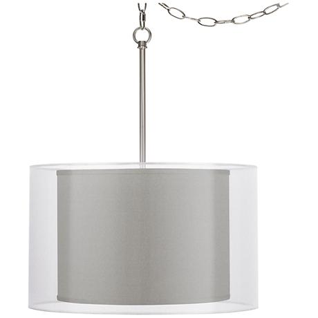 "Gray Faux Silk Double Shade 18"" Wide Swag Pendant"