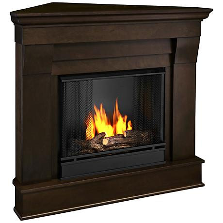 Real Flame Chateau Dark Walnut Corner Gel Fireplace