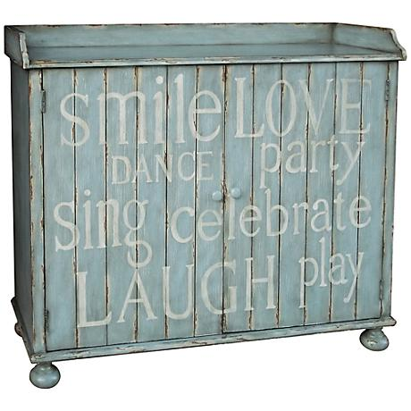 Pulaski Mesane Light Blue Hand painted Plank Wine Cabinet