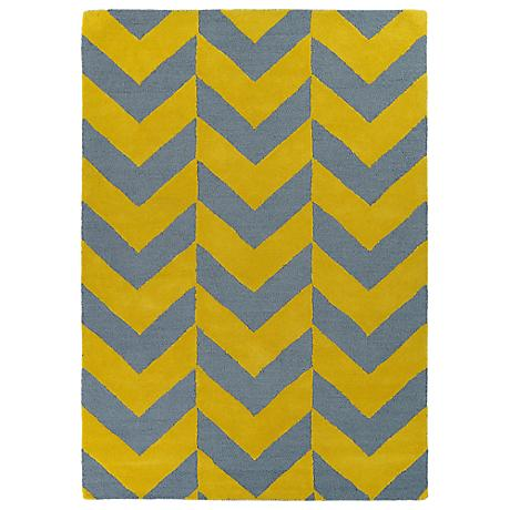Kaleen Trends TRN02-28 Yellow and Gray Chevron Area Rug