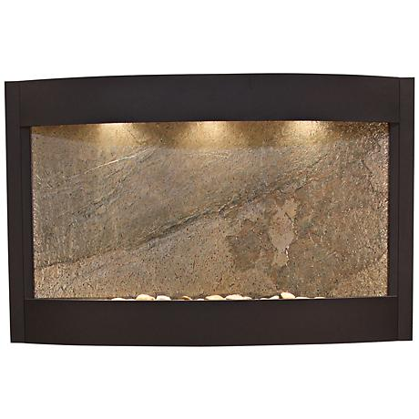 Calming Waters Green Stone Textured Black Wall Fountain