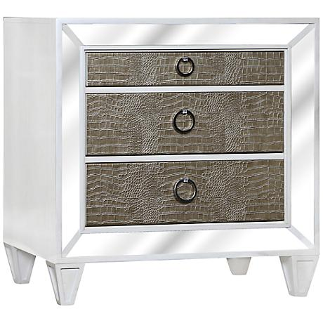 Monroe Pearlized White Mirrored 3-Drawer Nightstand