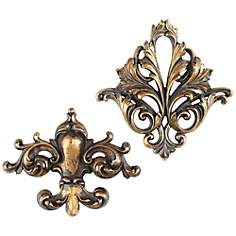 "Acanthus and Fleur-de-Lys 2-Piece 11 1/2"" High Wall Art Set"