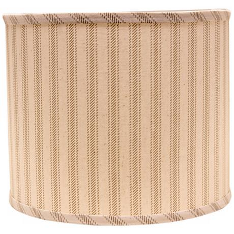 Wide Taupe Ticking 14x14x11 Drum Shade (Spider)