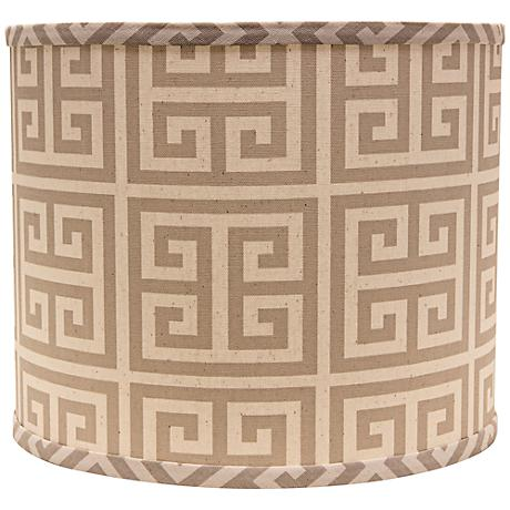 Taupe Greek Key 16x16x13 Drum Shade (Spider)