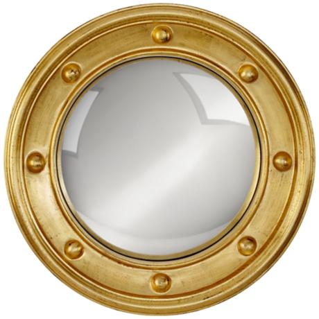 "Ortley Gold Porthole 24 1/2"" Round Convex Wall Mirror"