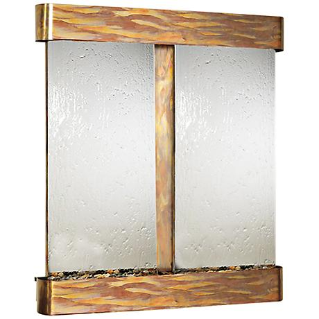 Cottonwood Falls Mirrored Round Copper Wall Fountain