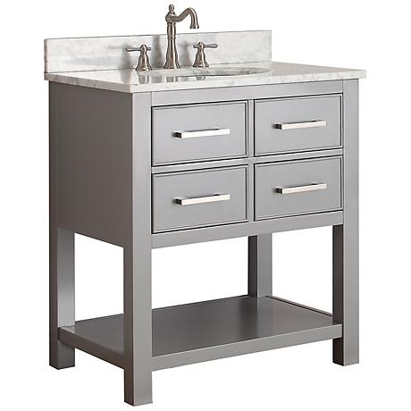 "Avanity Brooks 30"" White Top Gray Single Sink Vanity"